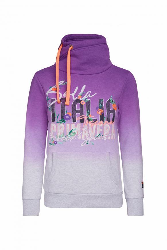 Sweatshirt mit Dip-Dye-Effekt und Artwork bright purple