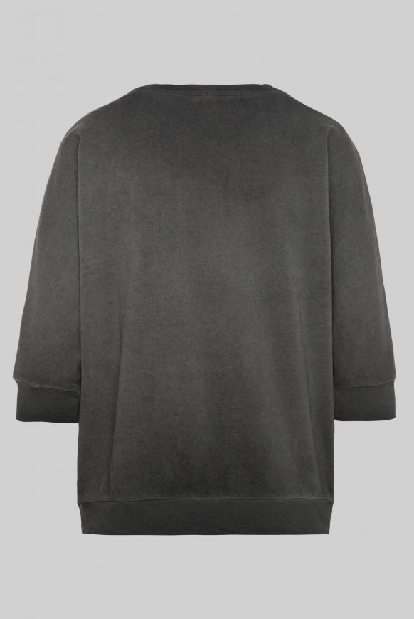 Sweatshirt mit kurzen Ärmeln und Label Print black