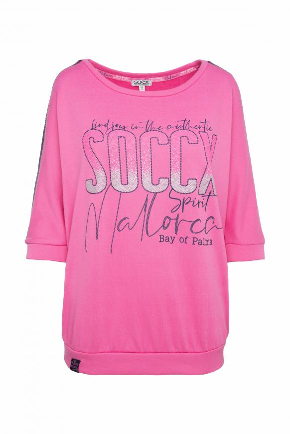 Sweatshirt mit Logo und Pailletten-Tape pink lemonade