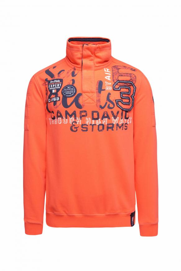 Sweatshirt mit Troyer-Kragen und Artwork signal orange