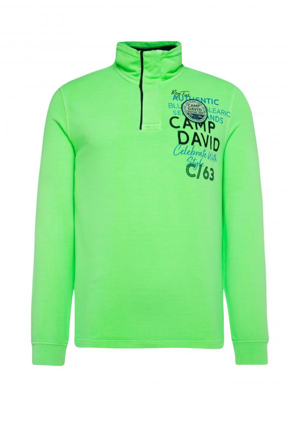Sweatshirt mit Troyer-Kragen und Artworks neon green