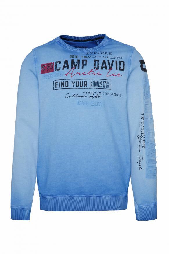Sweatshirt Oil Dyed mit Logo-Prägung blue ice