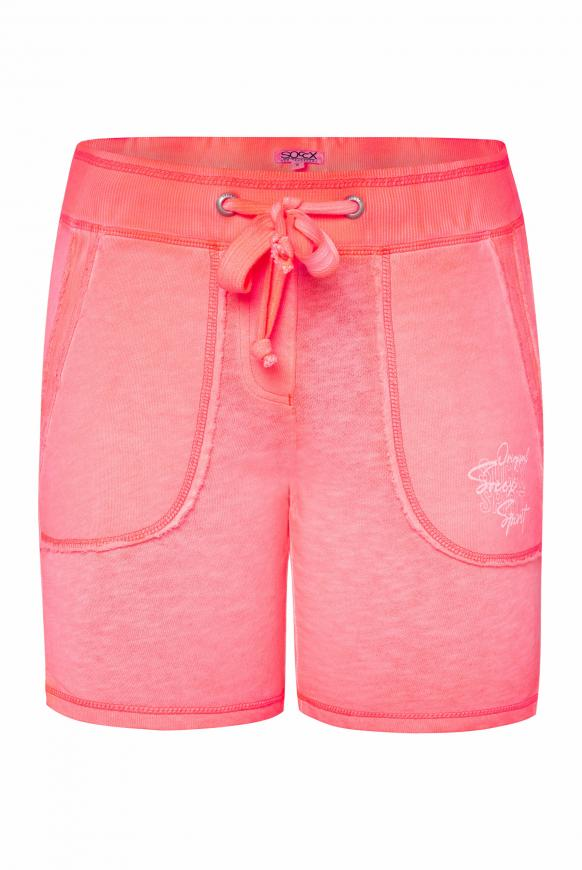 Sweatshorts im Vintage Look mit Print neon rosa