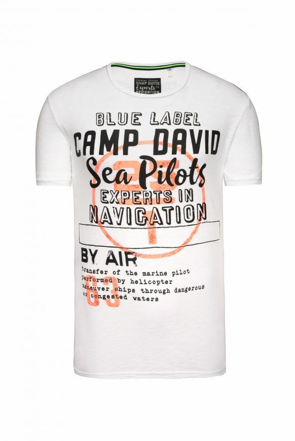 T-Shirt aus Flammgarn mit Label Print pale white