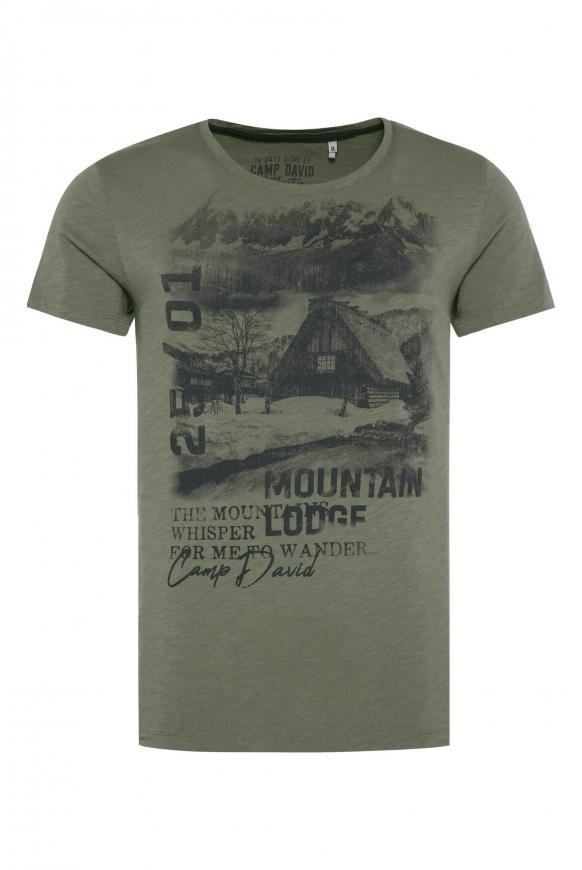 T-Shirt aus Flammgarn mit Photoprint olive tree