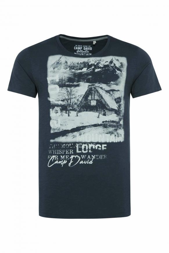 T-Shirt aus Flammgarn mit Photoprint deep sea