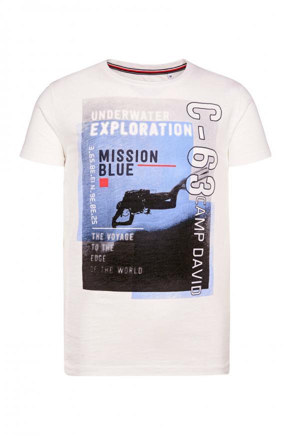 T-Shirt aus Slub Jersey mit Foto-Print ivory