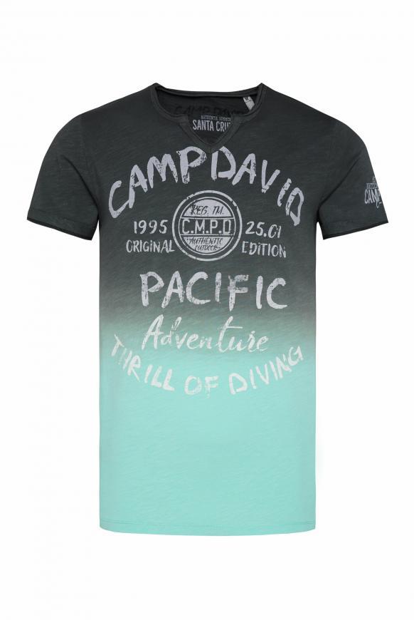 T-Shirt Dip Dye mit Prints und Used-Optik anthra / aqua green