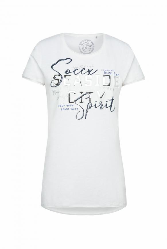 T-Shirt mit 3D-Artwork und Used-Kanten ivory