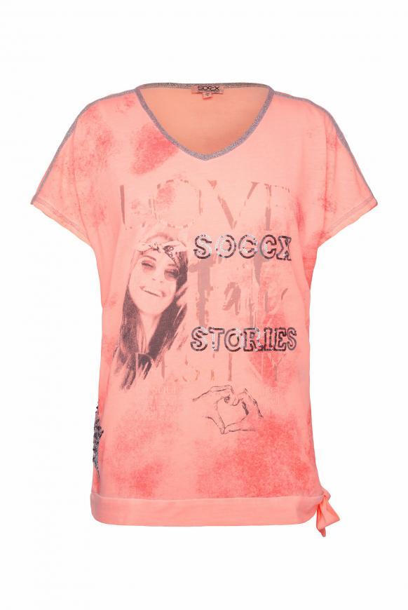 T-Shirt mit Artwork und Knotensaum orange glow