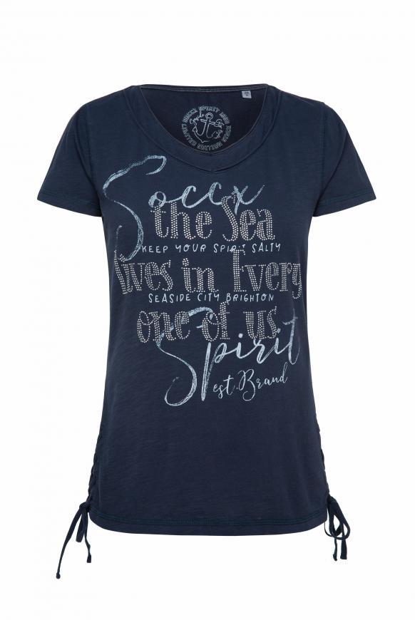 T-Shirt mit Artwork und Schnürung nautic navy