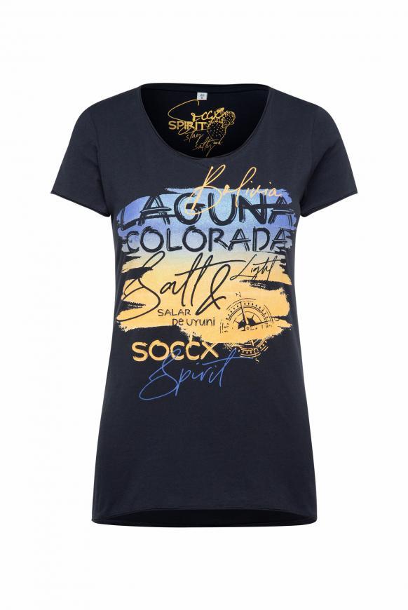 T-Shirt mit Artwork und Used-Kanten horizon navy