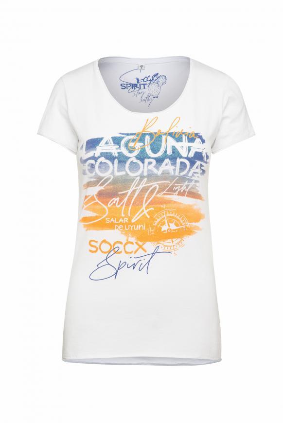 T-Shirt mit Artwork und Used-Kanten opticwhite