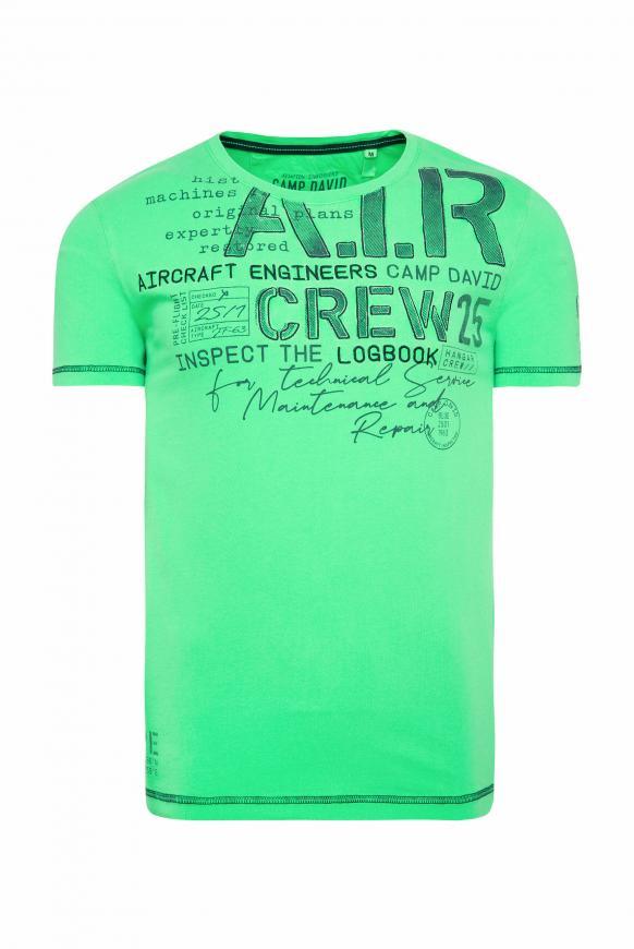 T-Shirt mit Artworks und Kontrastnähten electric green