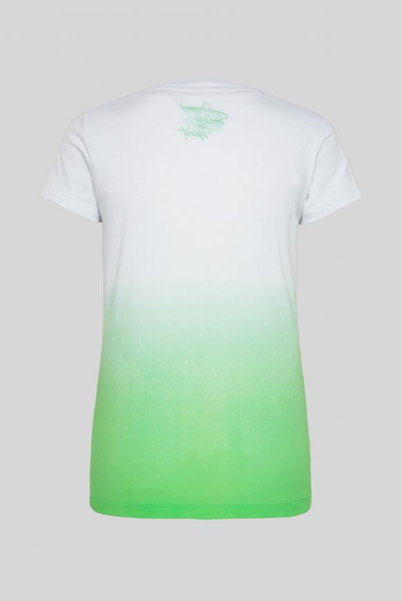 T-Shirt mit Dip-Dye-Effekt und Frontprint lemon drop