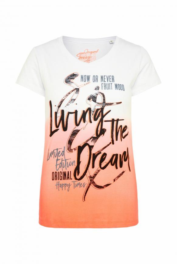 T-Shirt mit Dip-Dye-Effekt und Frontprint neon orange