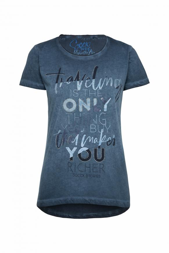T-Shirt mit Glitter Artwork blue navy
