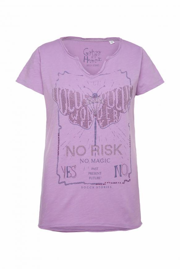T-Shirt mit Glitzerstein-Artwork soft lavender