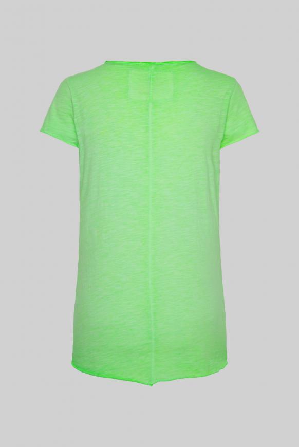 T-Shirt mit Label Print und Used Look lemon drop
