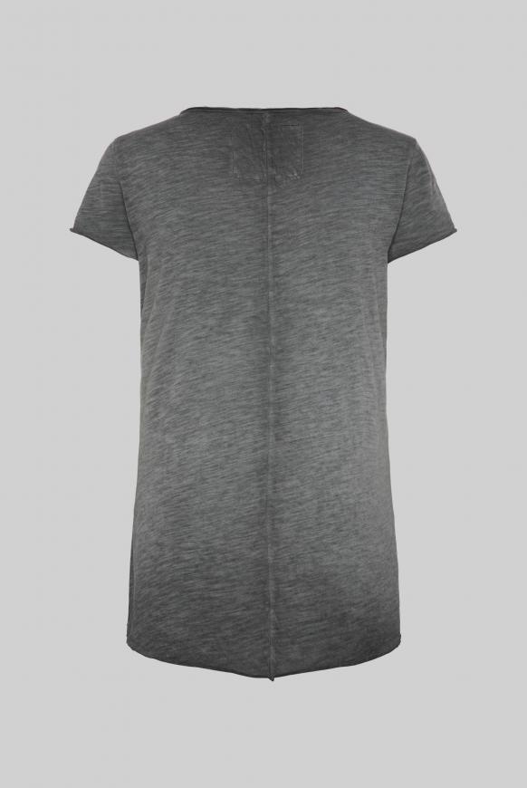 T-Shirt mit Label Print und Used Look black