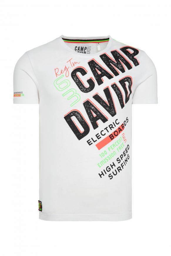 T-Shirt mit Logo und Ausbrenner-Effekten opticwhite