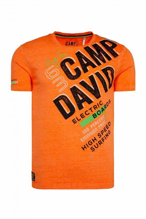 T-Shirt mit Logo und Ausbrenner-Effekten speed orange