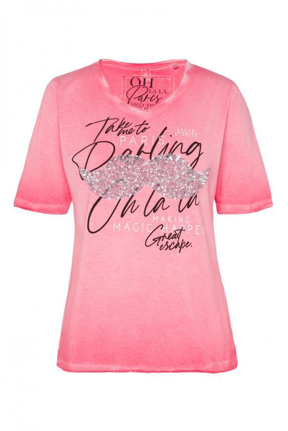 T-Shirt mit Pailletten und Used-Kanten pure coral