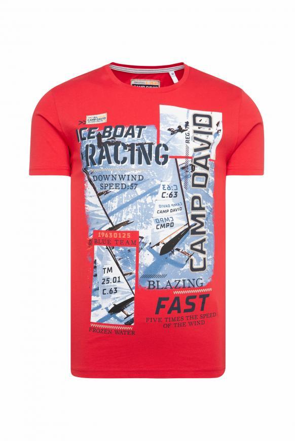 T-Shirt mit Photo- und Puff-Print speed red