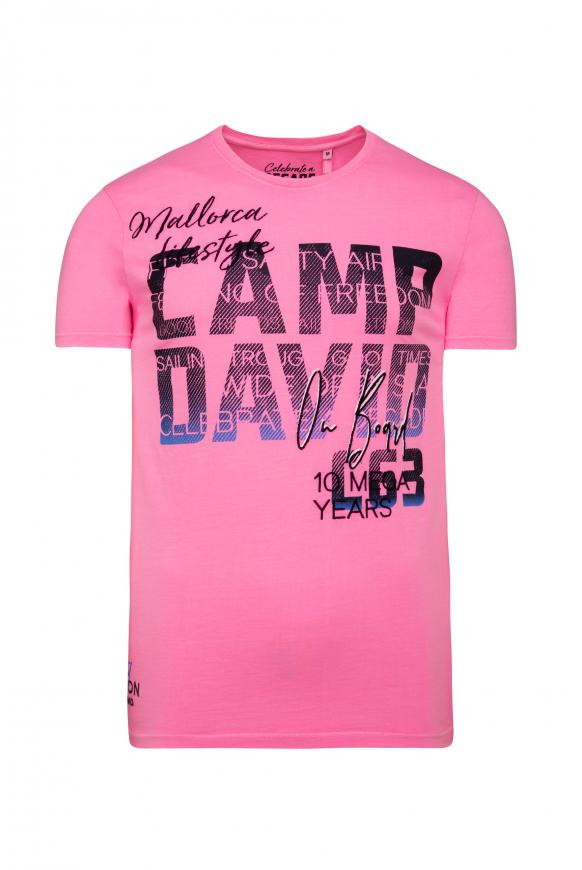 T-Shirt mit Photoprint Logo neon pink