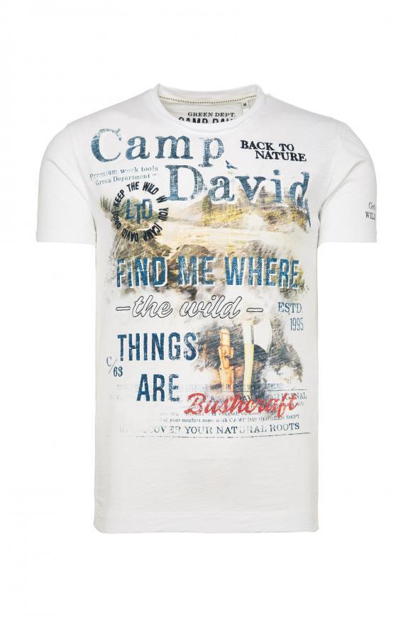 T-Shirt mit Photoprint und Stickereien offwhite