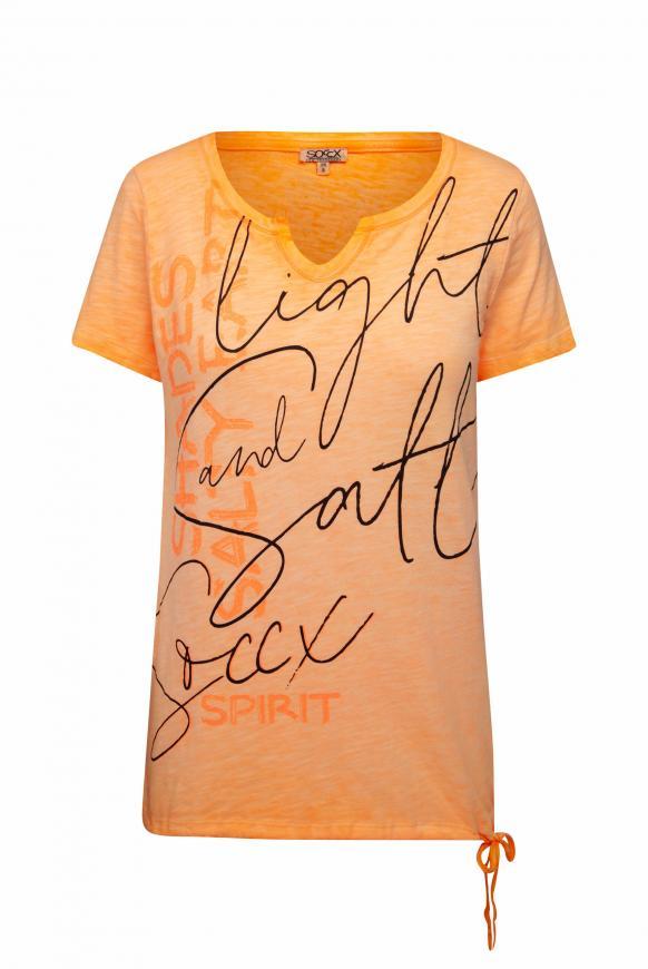 T-Shirt mit Print und Bindeband im Saum sunrise neon
