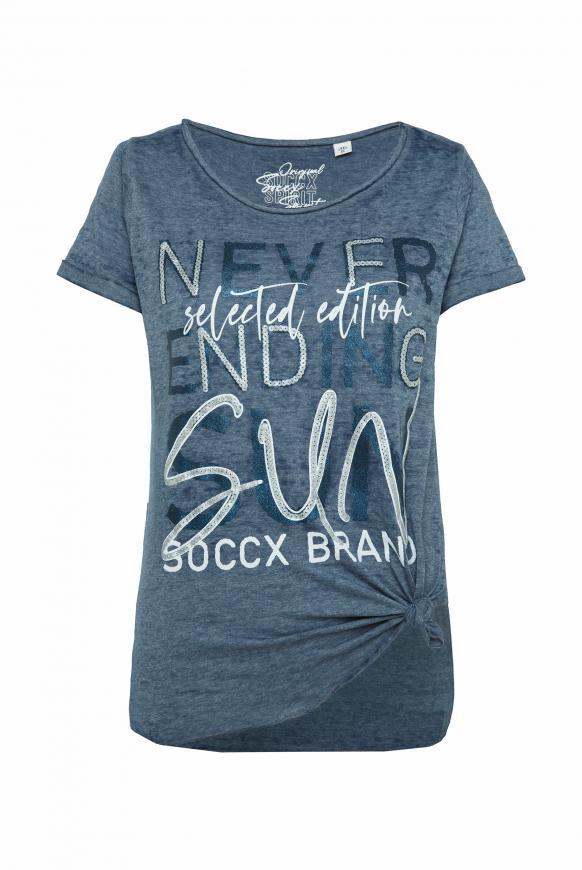 T-Shirt mit Print und Knotensaum blue navy