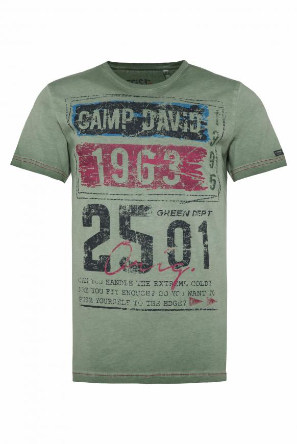 T-Shirt mit Prints im Used Look pure olive
