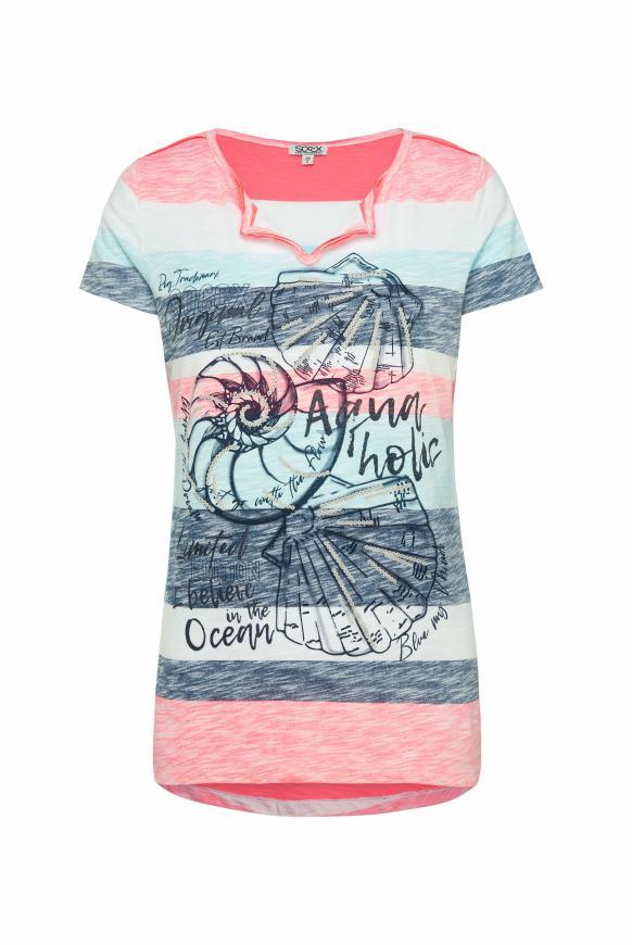 T-Shirt mit Streifen- und Artwork-Print multi color