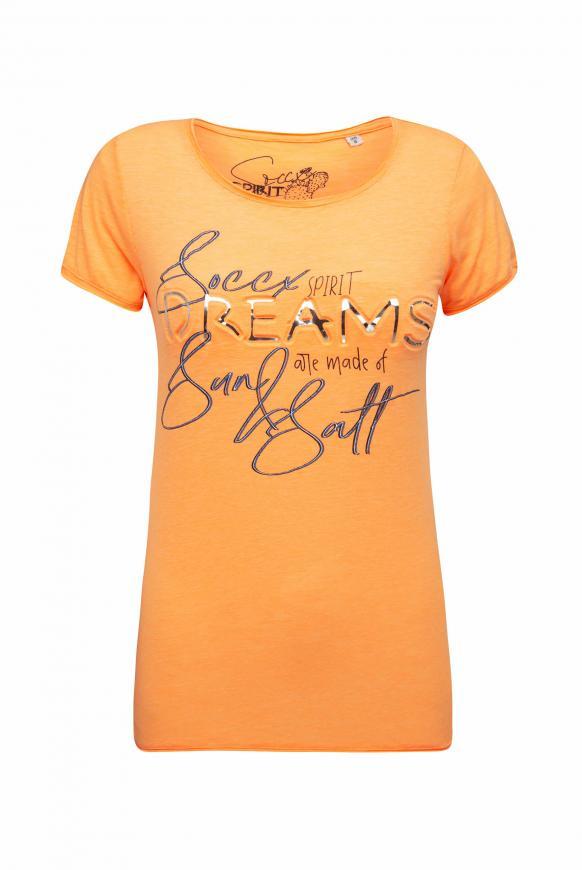 T-Shirt mit Used-Kanten und Artwork sunrise neon