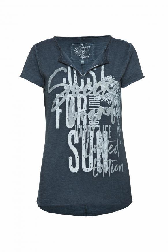 T-Shirt mit Used-Optik und Glitter Print blue navy