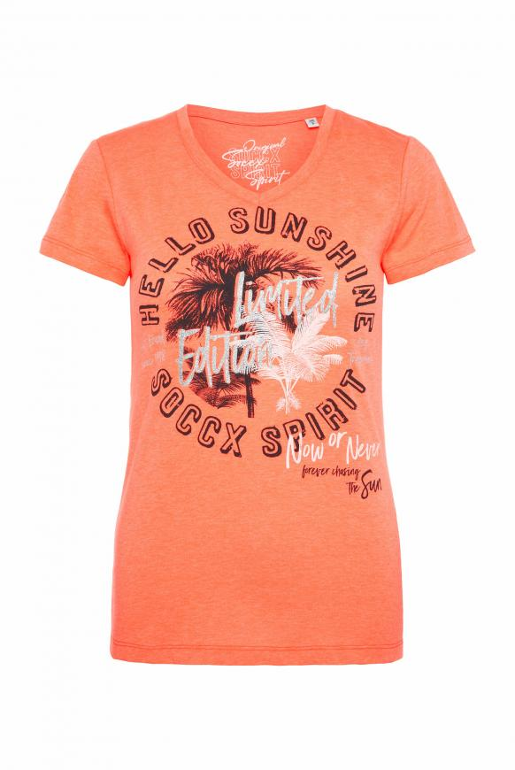 T-Shirt mit V-Ausschnitt und Artwork neon orange