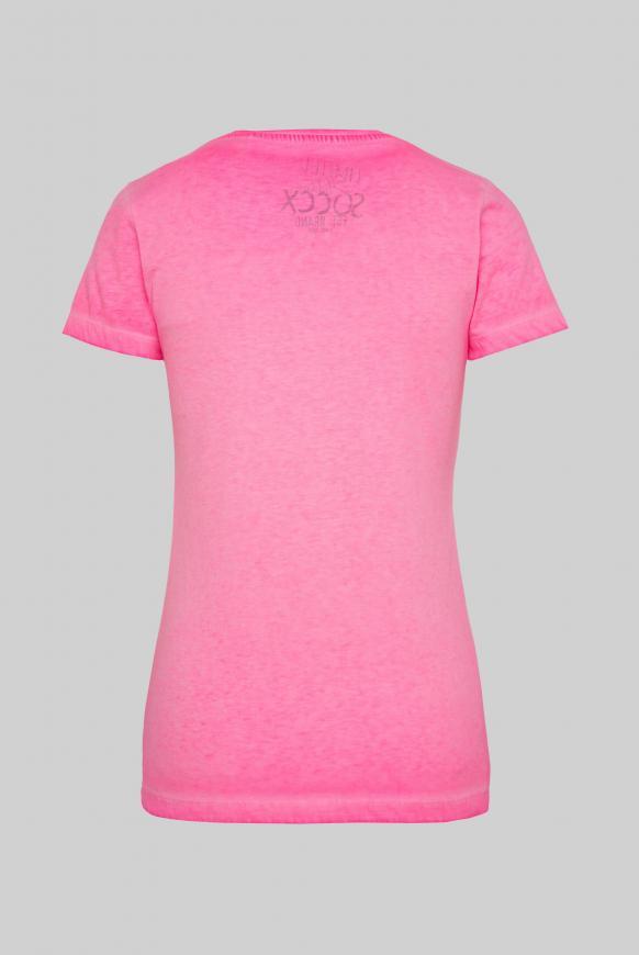 T-Shirt mit V-Ausschnitt und Pailletten-Logo paradise pink
