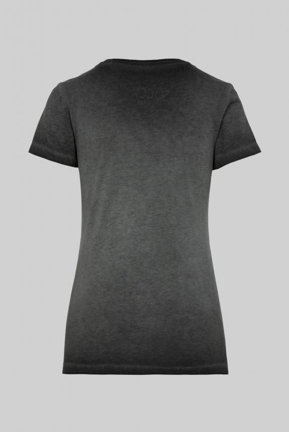 T-Shirt mit V-Ausschnitt und Pailletten-Logo black