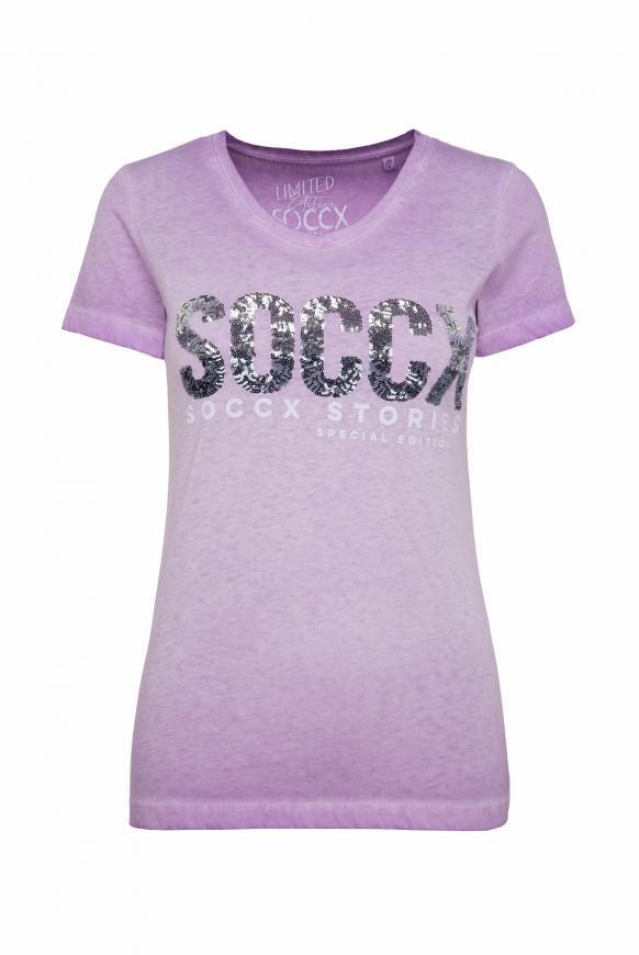 T-Shirt mit V-Ausschnitt und Pailletten-Logo lavender sky