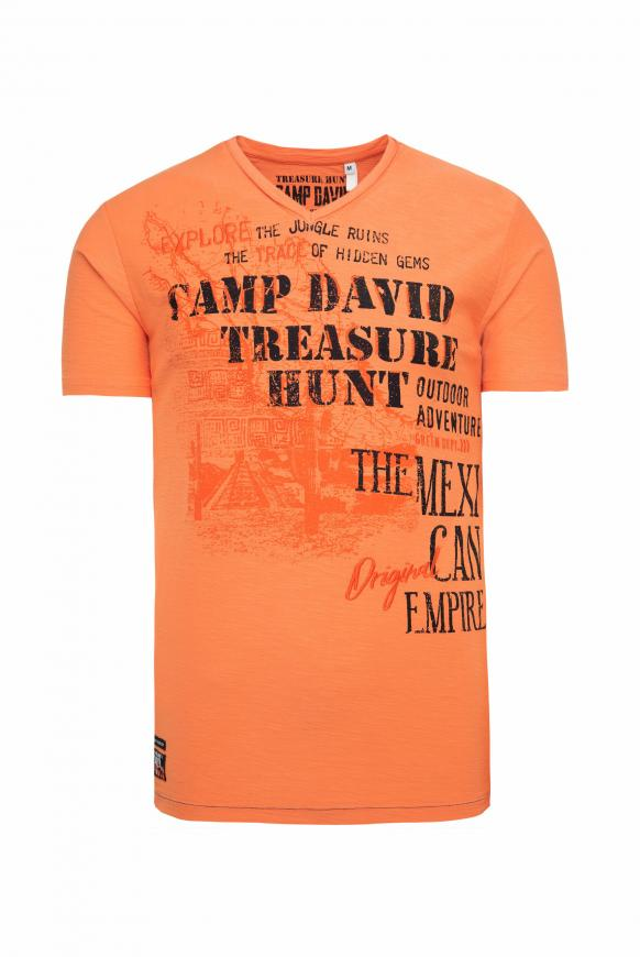 T-Shirt mit V-Neck und Artworks sunstone