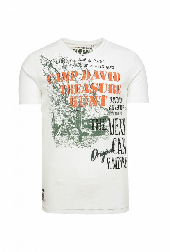 T-Shirt mit V-Neck und Artworks offwhite
