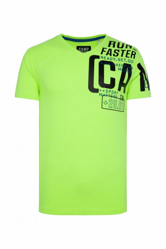 T-Shirt mit V-Neck und Print Artwork neon yellow
