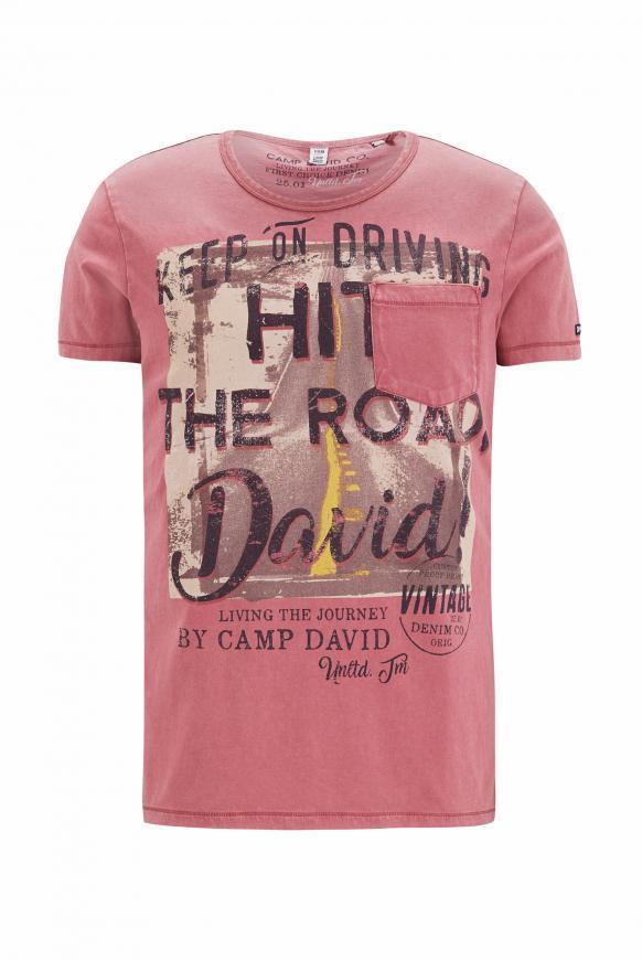 T-Shirt mit Vintage Print und Tasche berry