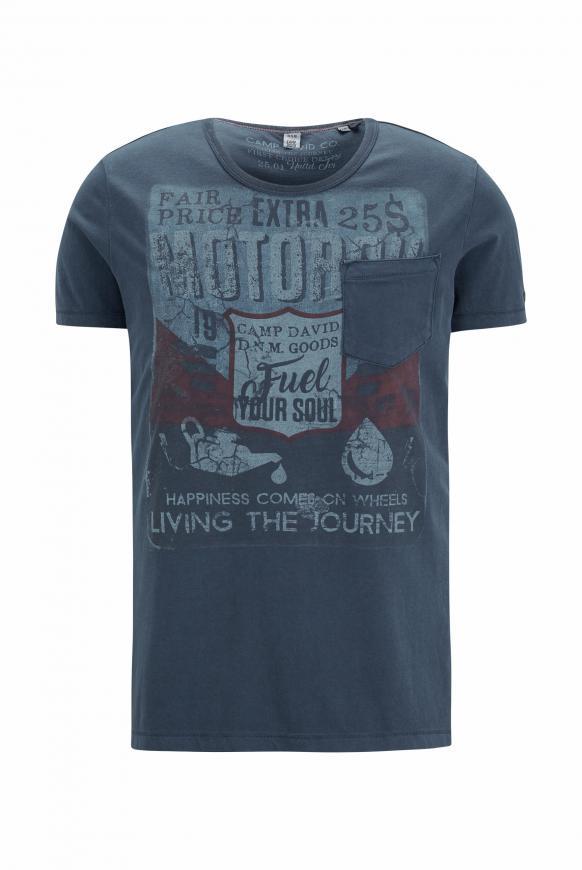 T-Shirt mit Vintage Print und Tasche deep sea