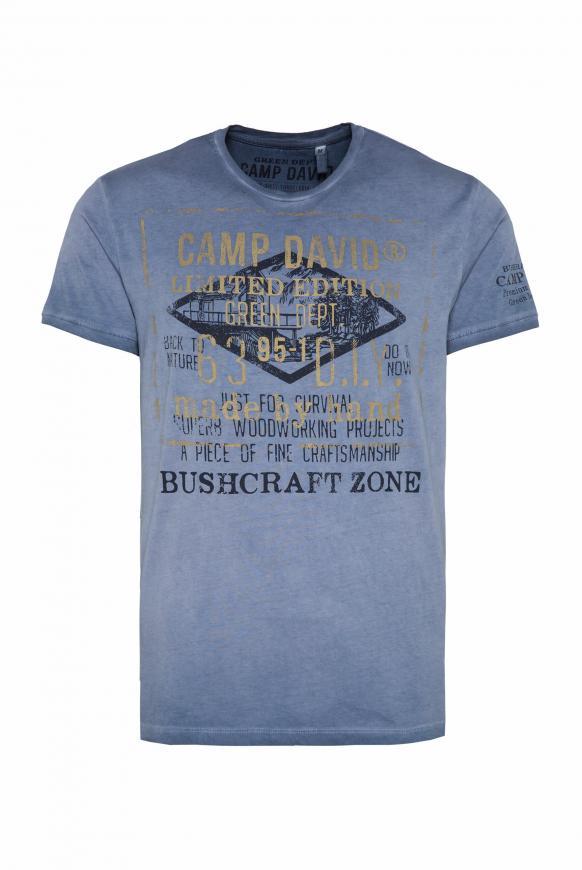 T-Shirt mit Vintage Print und Used-Färbung blue grey