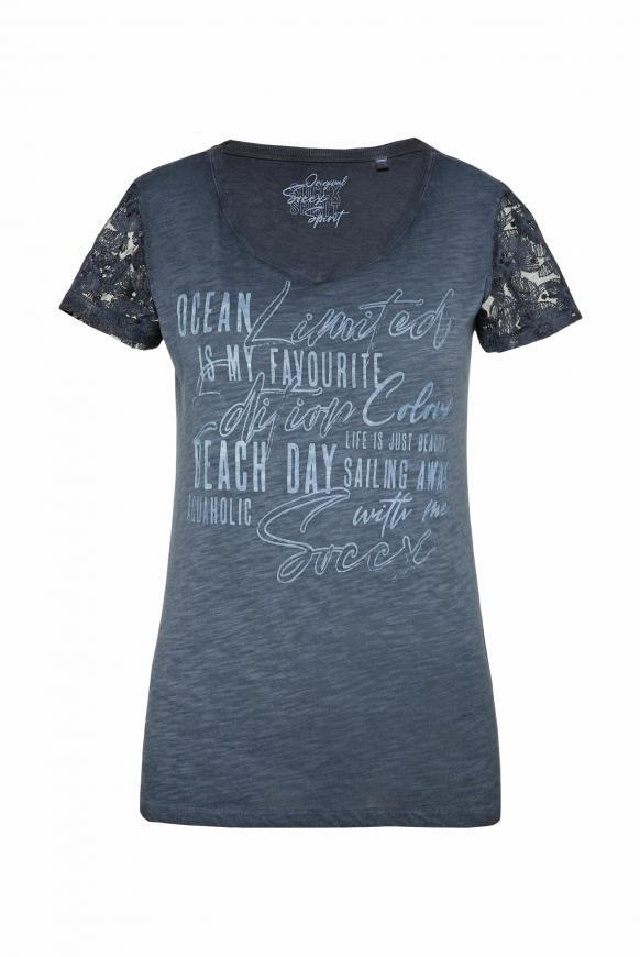 T-Shirt Oil Dyed mit Ärmeln aus Spitze blue navy