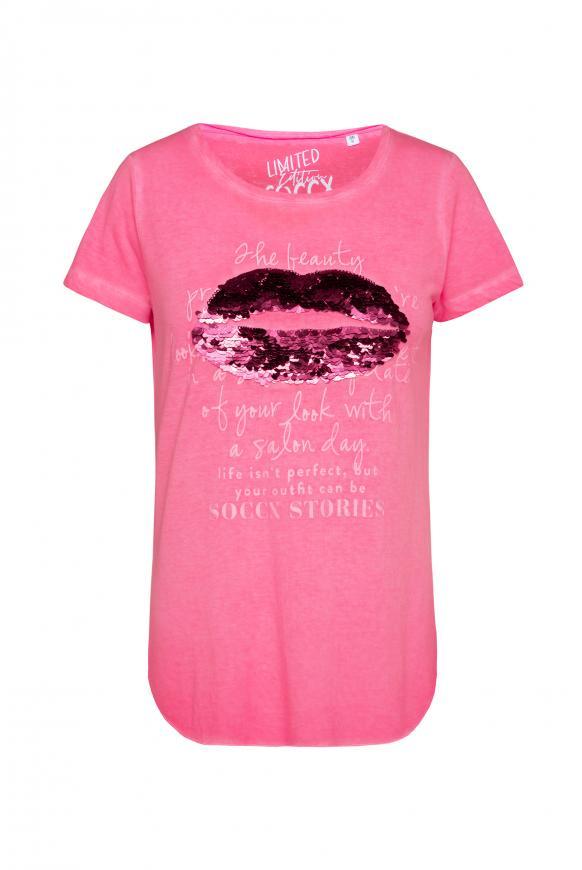 T-Shirt Oil Dyed mit Pailletten-Artwork neon rosa