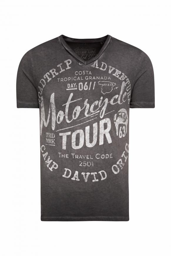 T-Shirt V-Neck mit Prints black