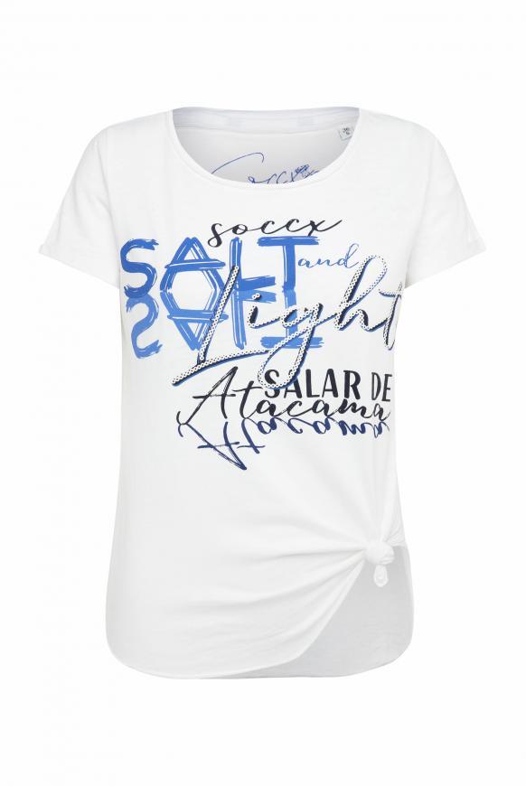T-Shirt zum Knoten mit Ausbrennern und Artwork opticwhite